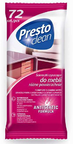 Presto clean antisztatikus törlőkendő 72db