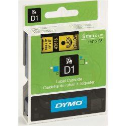 Dymo S0720790 (43618) D1 6mm*7m fek/sárga kazetta