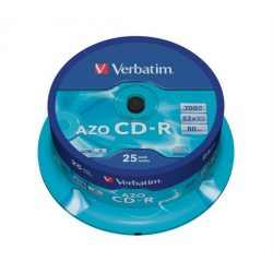 "CD-R lemez, Crystal bevonat, AZO, 700MB, 52x, hengeren VERBATIM ""DataLife Plus"""