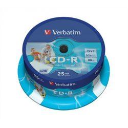 CD-R lemez, nyomtatható, matt, ID, 700MB, 52x, hengeren, VERBATIM