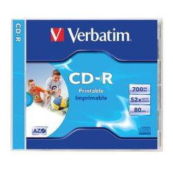 CD-R lemez, nyomtatható, matt, ID, 700MB, 52x, normál tok, VERBATIM