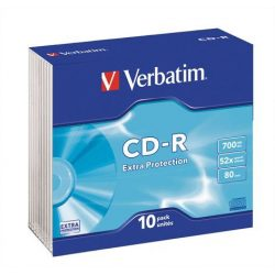 "CD-R lemez, 700MB, 52x, vékony tok, VERBATIM ""DataLife"""