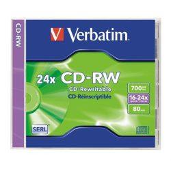 CD-RW lemez, újraírható, 700MB, 8-10x, normál tok, VERBATIM