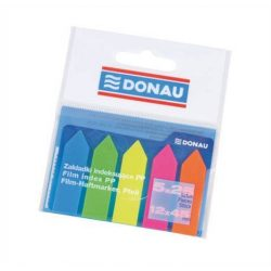 Jelölőcimke, műanyag, nyíl forma, 5x25 lap, 12x45 mm, DONAU, neon szín