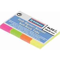 Jelölőcímke, papír, 5x40 lap, 20x50 mm, DONAU, vegyes szín