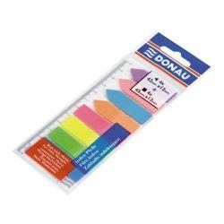 Jelölőcimke, műanyag, címke és nyíl forma, 8x25 lap, 12x45/42 mm, DONAU, neon szín