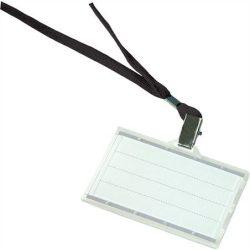 Azonosítókártya tartó, fekete nyakba akasztóval, 88x54 mm, műanyag, DONAU