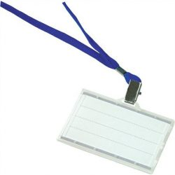 Azonosítókártya tartó, kék nyakba akasztóval, 88x54 mm, műanyag, DONAU