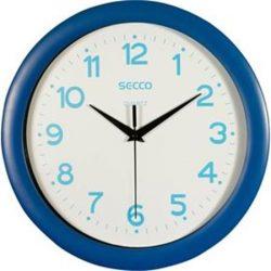 """Falióra, 30 cm,  kék keretes, kék számokkal, SECCO """"Sweep second"""""""