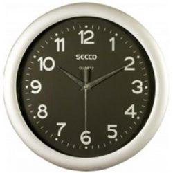 """Falióra, 30 cm,  fekete számlap,SECCO """"Sweep Second"""", ezüst keret"""