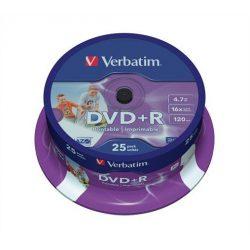 DVD+R lemez, nyomtatható, matt, ID, 4,7GB, 16x, hengeren, VERBATIM