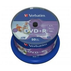 DVD+R lemez, nyomtatható, matt, no-ID, 4,7GB, 16x, hengeren, VERBATIM