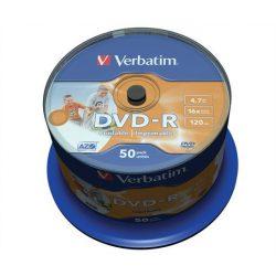 DVD-R lemez, nyomtatható, matt, no-ID, 4,7GB, 16x, hengeren, VERBATIM