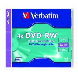 DVD-RW lemez, újraírható, 4,7GB, 4x, normál tok, VERBATIM