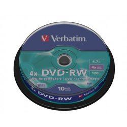 DVD-RW lemez, újraírható, 4,7GB, 4x, hengeren, VERBATIM