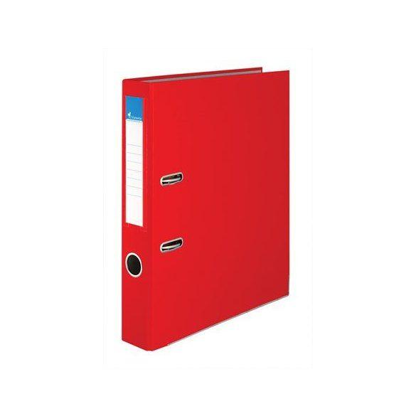 Iratrendező, 50 mm, A4, PP/karton, élvédő sínnel, VICTORIA, piros