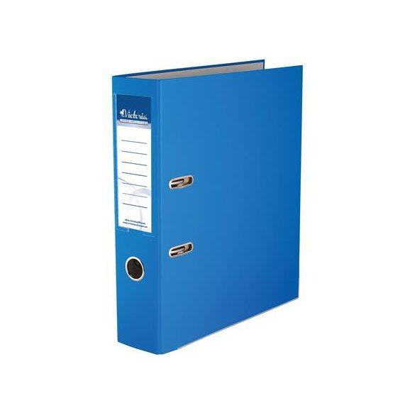 Iratrendező, 75 mm, A4, PP/karton, élvédő sínnel, VICTORIA, kék