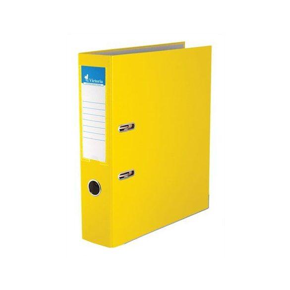 Iratrendező, 75 mm, A4, PP/karton, élvédő sínnel, VICTORIA, sárga