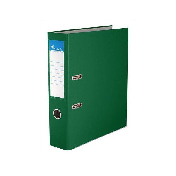 Iratrendező, 75 mm, A4, PP/karton, élvédő sínnel, VICTORIA, zöld