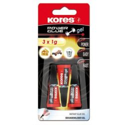 "Pillanatragasztó gél, 3x1 g, KORES ""Power Glue Gel"""