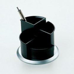 Írószertartó, forgatható, HELIT, fekete-ezüst