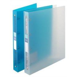 """Gyűrűs dosszié, 4 gyűrű, 35 mm, A4, maxi, PP, cserélhető címke, VIQUEL """"Propyglass"""", kék"""