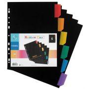 Regiszter, műanyag, A4 Maxi, 6 részes, VIQUEL , fekete