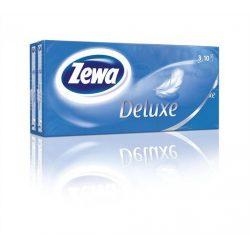 """Papír zsebkendő, 3 rétegű, 10x10 db, ZEWA """"Deluxe"""", illatmentes"""