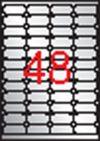 Etikett, 45,7x21,2 mm, poliészter, időjárásálló, kerekített sarkú, APLI, ezüst, 960 etikett/csomag