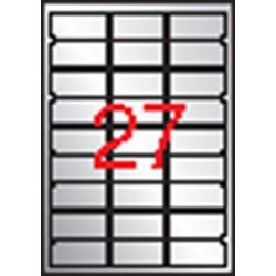 Etikett, 63,5x29,6 mm, poliészter, időjárásálló, kerekített sarkú, APLI, ezüst, 540 etikett/csomag