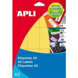 Etikett, 19 mm kör, színes, A5 hordozón, APLI, sárga, 560 etikett/csomag
