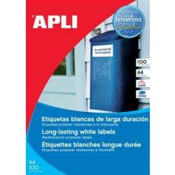 Etikett, 210x297 mm, poliészter, időjárásálló, kerekített sarkú, APLI, 100 etikett/csomag