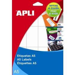 Etikett, 19 mm kör, A5 hordozón, APLI, 1050 etikett/csomag