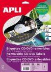 Etikett, CD/DVD, A4, matt, eltávolítható, APLI