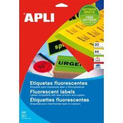 Etikett, 60 mm kör, színes, APLI, neon sárga, 240 etikett/csomag