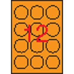 Etikett, 60 mm kör, színes, APLI, neon narancs, 240 etikett/csomag