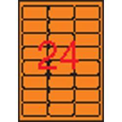 Etikett, 64x33,9 mm, színes, kerekített sarkú, APLI, neon sárga, 480 etikett/csomag