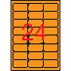 Etikett, 64x33,9 mm, színes, kerekített sarkú, APLI, neon narancs, 480 etikett/csomag