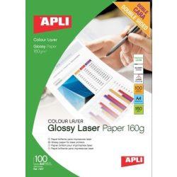 """Fotópapír, lézer, A4, 160 g, fényes, kétoldalas, APLI """"Premium Laser"""""""