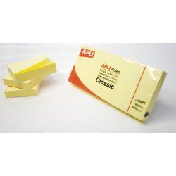 Öntapadó jegyzettömb, 38x51 mm, 100 lap, APLI, sárga