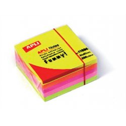 Öntapadó jegyzettömb, 51x51 mm, 250 lap, APLI, neon