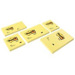 Öntapadó jegyzettömb, 102x152 mm, 100 lap, kockás, 3M POSTIT, sárga