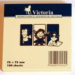 Öntapadó jegyzettömb, 75x75 mm, 100 lap, VICTORIA, sárga