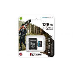 "Memóriakártya, microSDXC, 128GB, C10/UHS-I/U3/V30/A2, adapter, KINGSTON ""Canvas Go! Plus"""