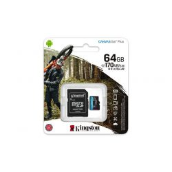 "Memóriakártya, microSDXC, 64GB, C10/UHS-I/U3/V30/A2, adapter, KINGSTON ""Canvas Go! Plus"""
