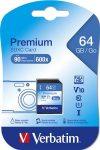 Memóriakártya, SD, 64GB, Class 10, VERBATIM
