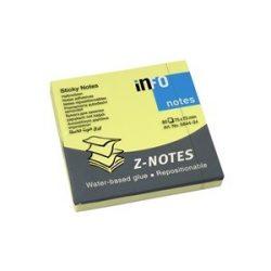 Öntapadós jegyzettömb Info Notes 75x75 mm 80 lapos Z tömb élénk sárga