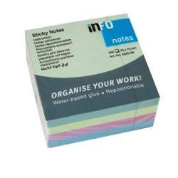Öntapadós jegyzettömb Info Notes 75x75 mm 400 lapos pasztell vegyes színek