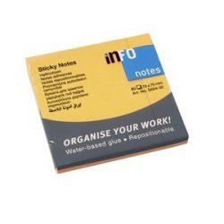 Öntapadós jegyzettömb Info Notes 75x75 mm 80 lapos élénk narancssárga
