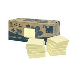 Öntapadós jegyzettömb Info Notes 75x75 mm 100 lapos sárga környezetbarát 12 tömb/doboz